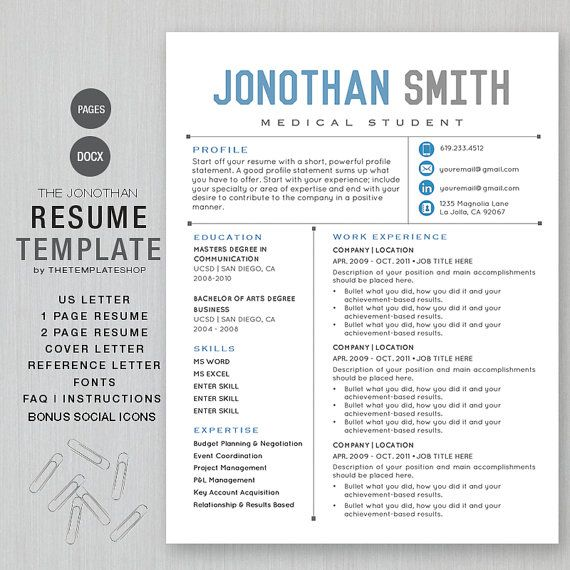 2 page editable cv templates 2021 · creative/modern resume , resume template. Resume Template Cv Template For Word Printable Social Media Icons The Jonathan Blue Instant Download Ms Word And Apple Pages In 2021 Free Resume Template Word Resume Template Free Downloadable Resume Template