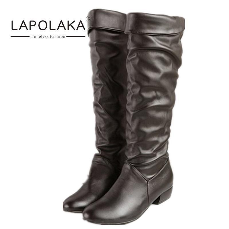 $38.77 (Buy here: https://alitems.com/g/1e8d114494ebda23ff8b16525dc3e8/?i=5&ulp=https%3A%2F%2Fwww.aliexpress.com%2Fitem%2F2015-New-Arrival-Fashion-Big-Size-34-43-Folding-Winter-Knee-High-Boots-Classic-Design-Round%2F32412336506.html ) 2016 New Arrival Fashion Big Size 34-43 Folding Winter Knee High Boots Classic Design Round Toe Low Thick Heel Shoes For Women for just $38.77