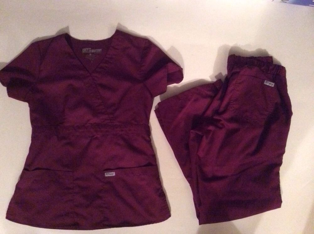9deece369ed Grey's Anatomy Scrub Top Pants Set Small Petite Womens Maroon Solid Nursing