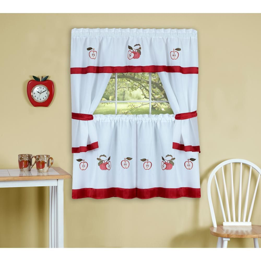 Achim sheer gala in l polyester window curtain set in red