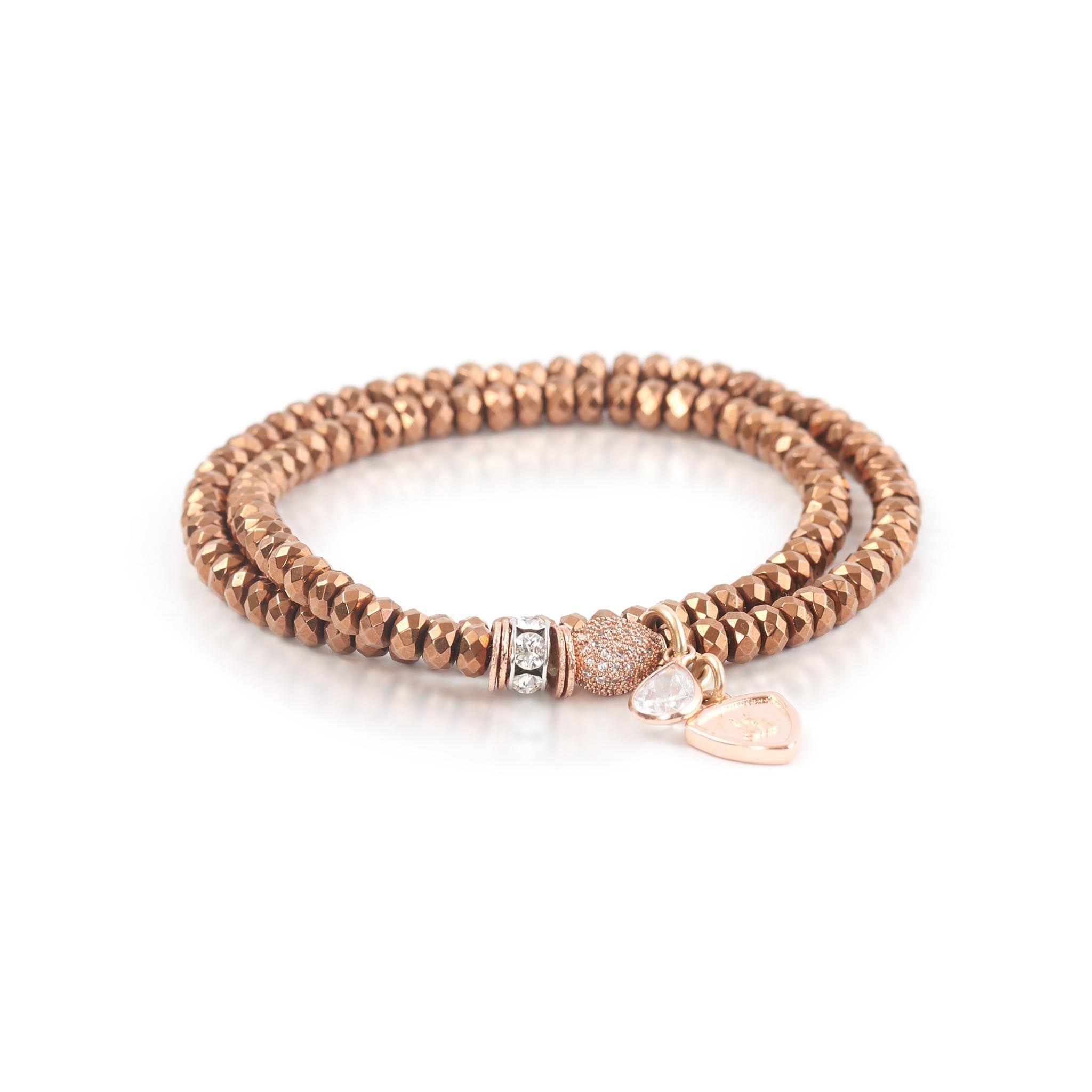 Delia wrap bracelet swarovski crystals and rose