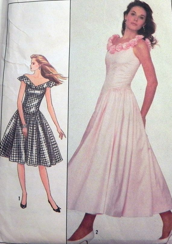 1980s Prom Dress Bridesmaid Sleeveless off the shoulder sewing ...