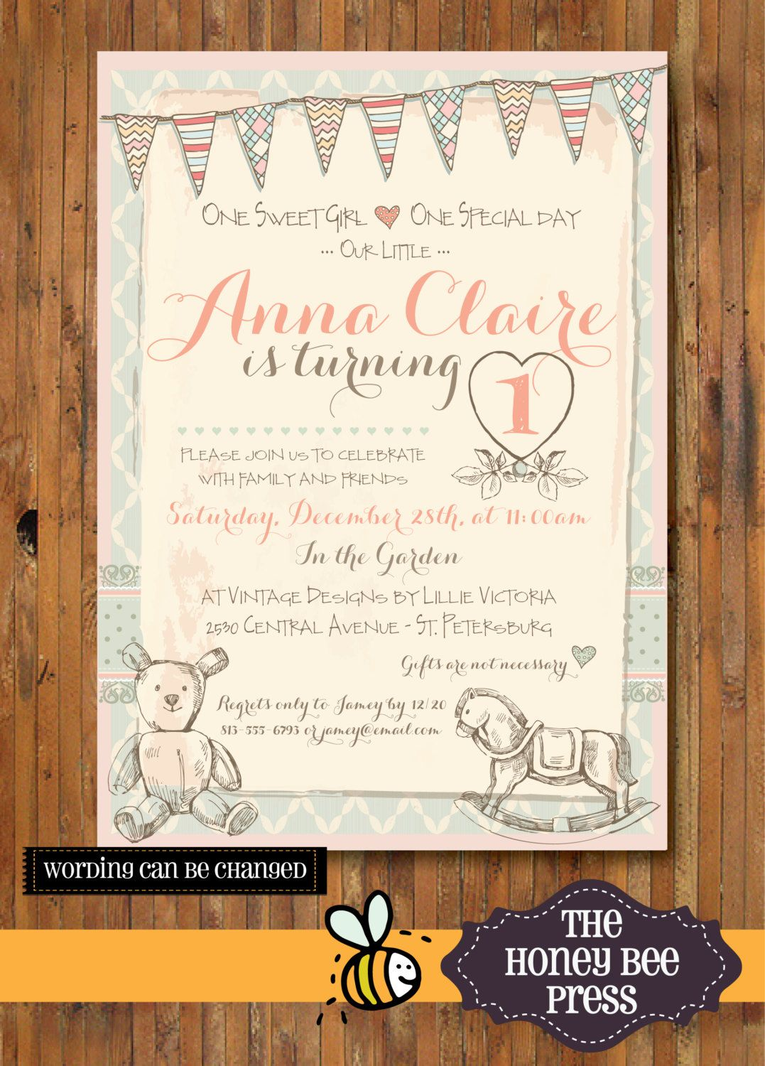 Shabby Chic Birthday Invitation - Tea Party - Garden Party - First ...