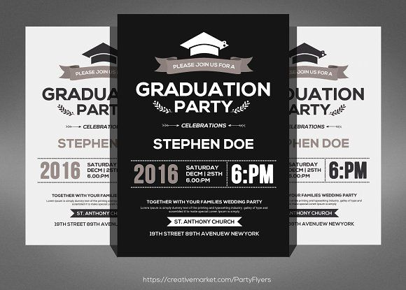 Simple Graduation Invitation Graphicsmag  Flyer Templates