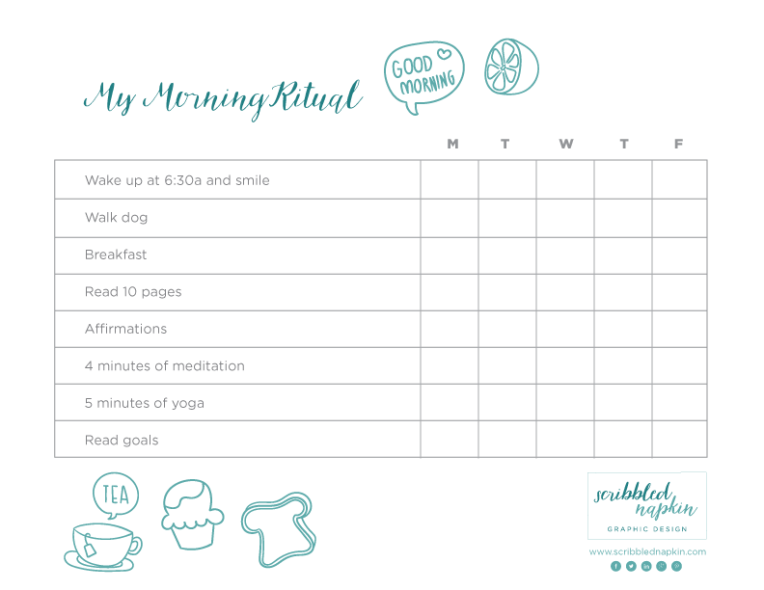 My Morning Ritual Free Printable | Increase Productivity, start your day right