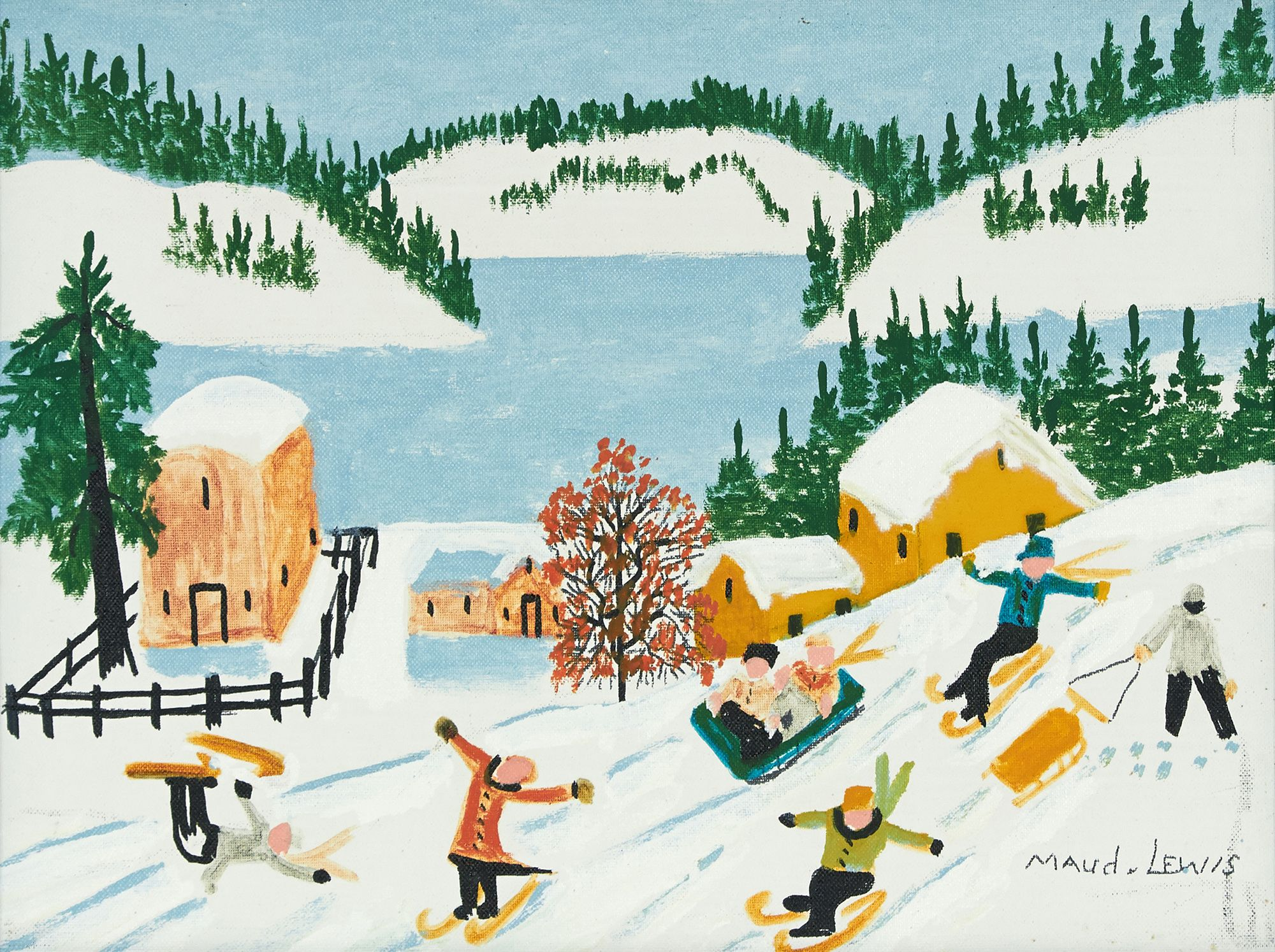 Skiing and Sledding Scene\' by Maud Lewis at Consignor.ca   Maudie ...