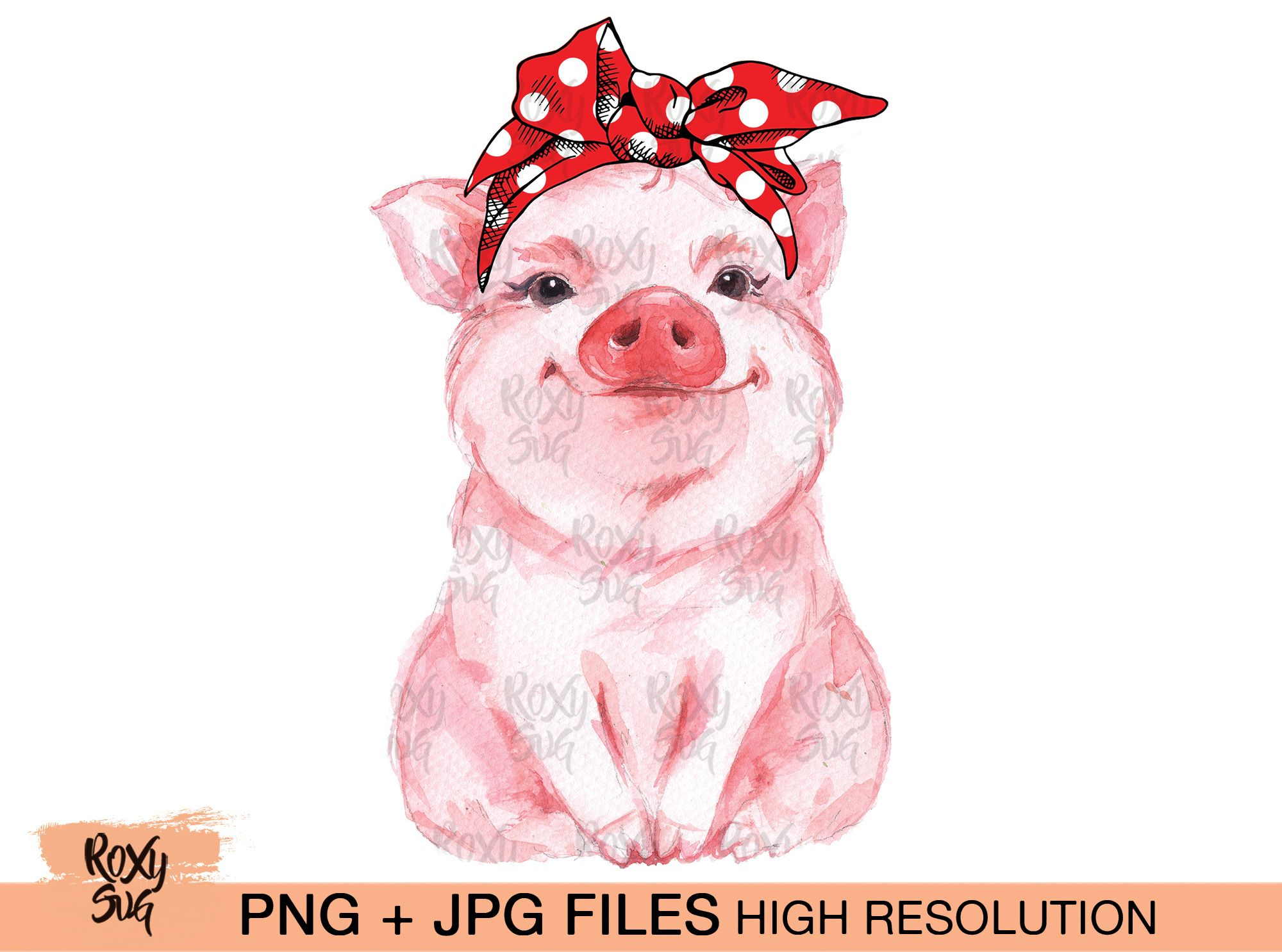 Red Bandana Pig Graphic By Roxysvg26 Creative Fabrica