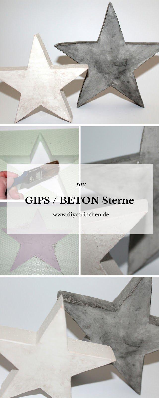DIY Gips Beton Sterne einfach gießen selbermachen - Weihnachtsdeko