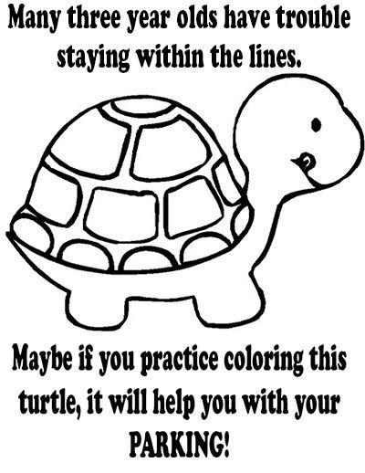 Bad Parking Printable Notice Turtle Coloring Sheet