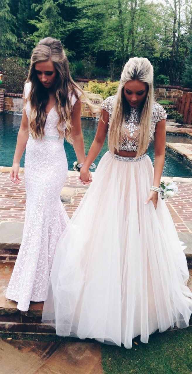 Two piece aline high neck open back beading white tulle long prom