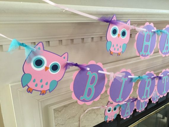 Owl Birthday Banner Party Decorations Look By HandmadeByVee First Parties