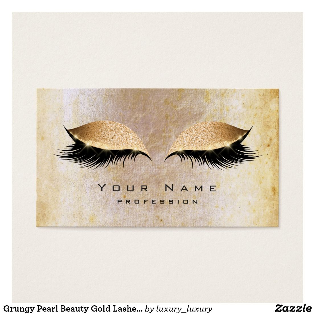 Grungy Pearl Beauty Gold Lashes Makeup Eye Glitter Business Card ...