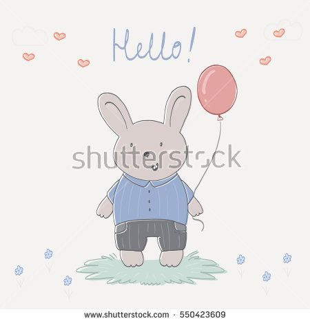 Hand drawn vector illustration with cute rabbit and balloon.