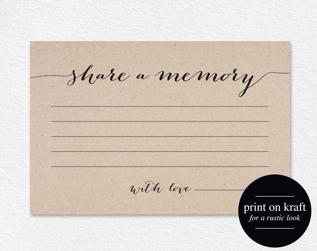 Share A Memory Card Memory Cards Share A Memory Printable Etsy Memorial Cards For Funeral Memorial Cards Memories