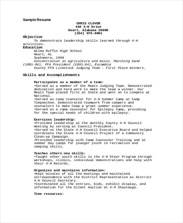 4 h resume examples resumes pinterest resume examples