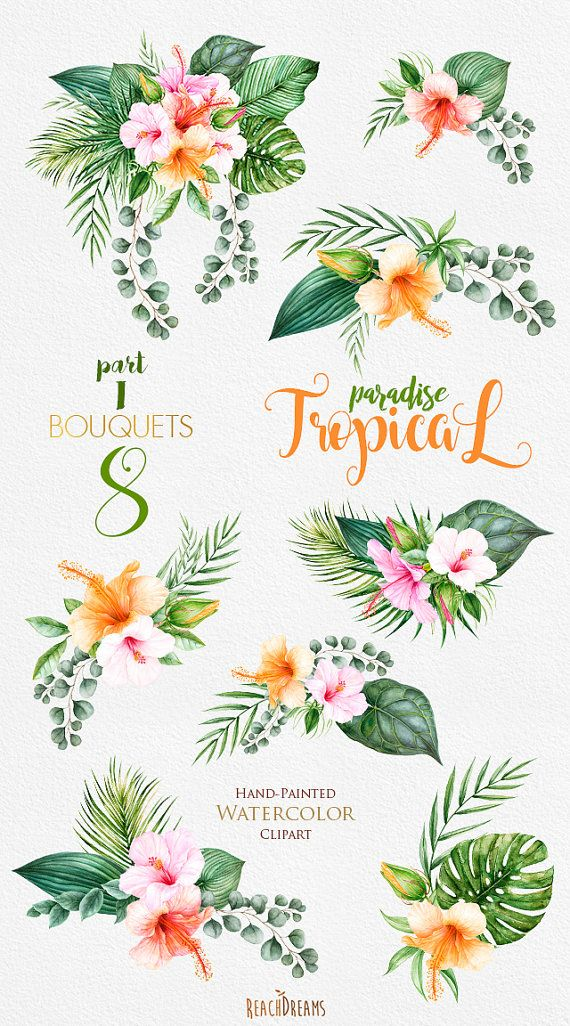 Tropical Watercolor Flowers Leaves Tropic Bouquets Clipart Etsy Flower Drawing Flower Art Watercolor Flowers