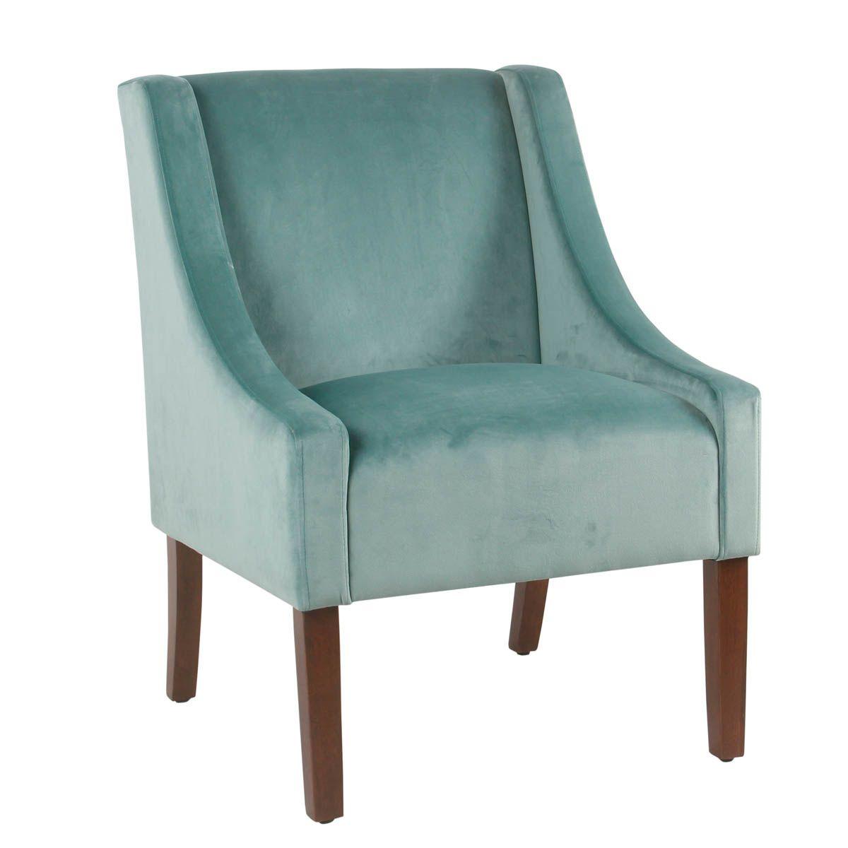 Best Modern Velvet Swoop Arm Accent Chair Aqua Blue With 400 x 300