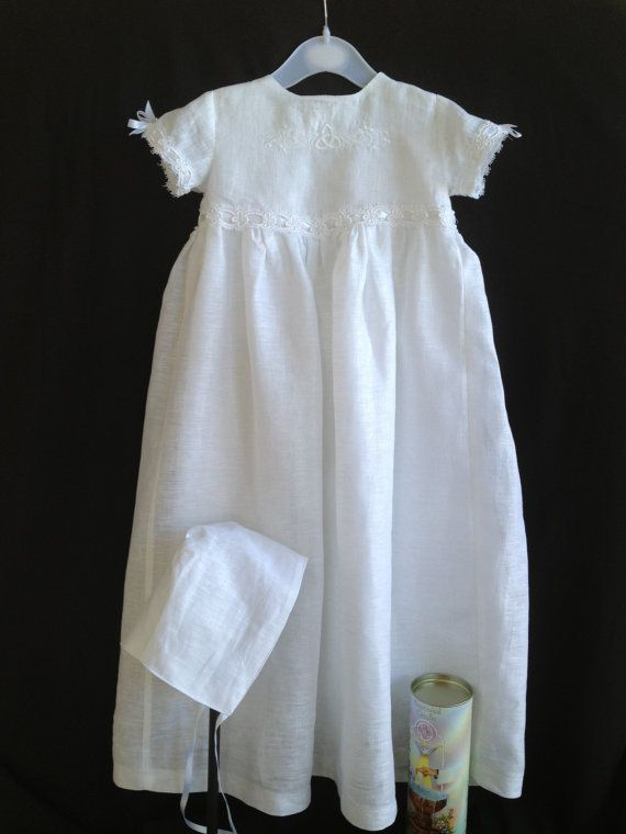 83499a2e5 Irish Linen Christening Gown made of Ulster Irish Linen featuring an embroidered  celtic knot on the bodice