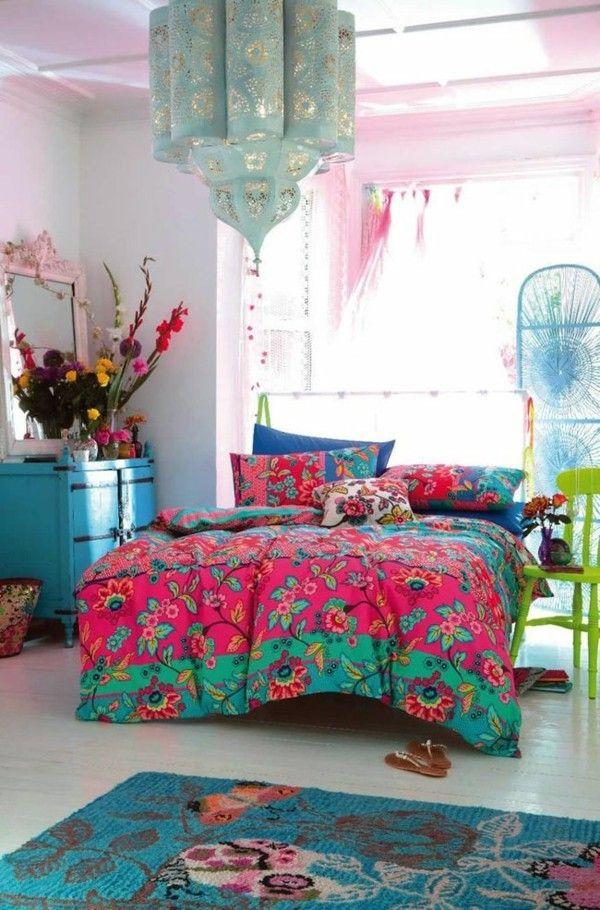 marokkanische lampe schlafzimmer beleuchten farbige bettwäsche - lampe für schlafzimmer