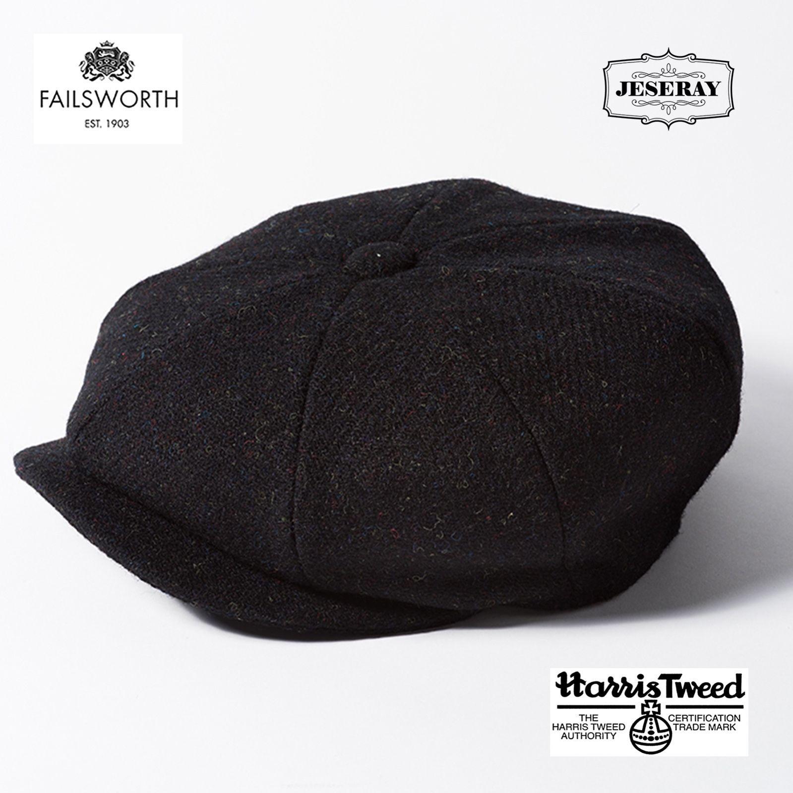 e6e3f8061 Mens Hats 163619: Failsworth Carloway Black Harris Tweed 8 Panel ...