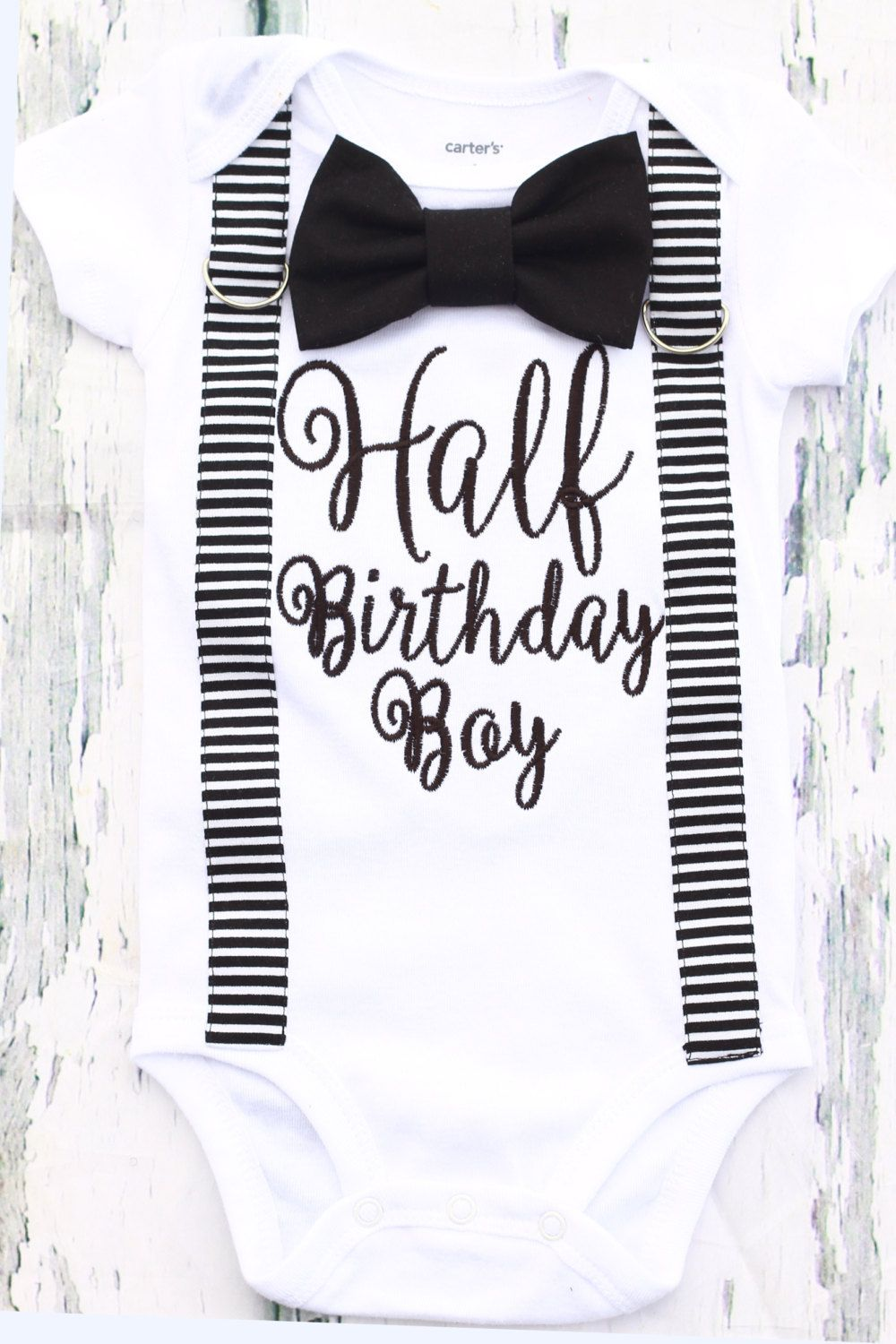 f81132f9d0c04 Baby Boy half birthday onesie with matching suspenders and bow tie ...