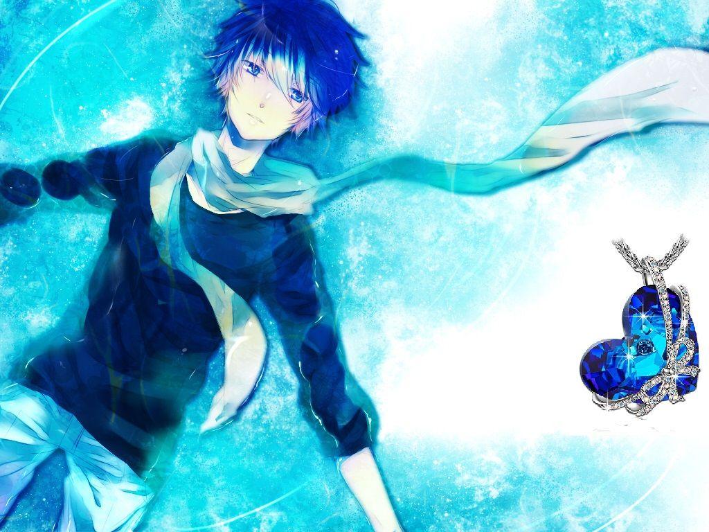 Anime boy blue heart necklace bluehair blueeyes anime