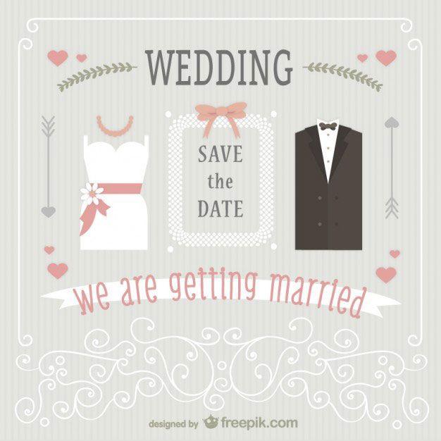 ウェディングドレスとタキシードでデザインした結婚式のベクター