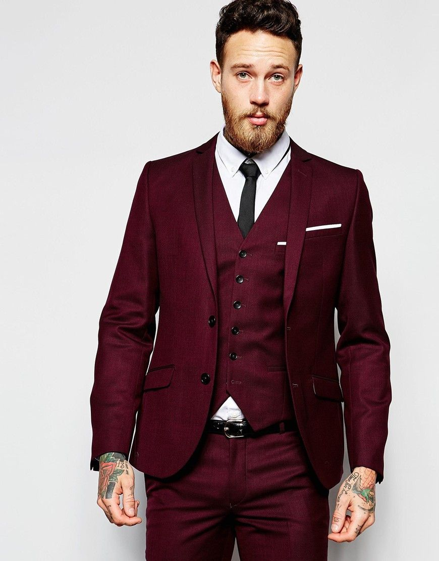 High Quality Two Button Dark Red Groom Tuxedos Groomsmen Mens Wedding Suits Prom Bridegroom Jacket