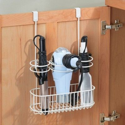 mDesign Over Cabinet Door Hair Care & Styling Tool Storage Basket - White
