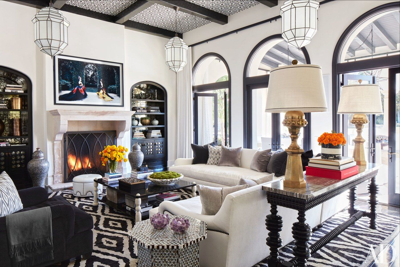 The family room at Khloé's place showcases an array of Martyn Lawrence Bullard…