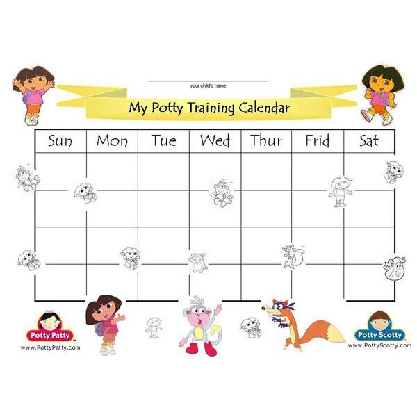 Dora the Explorer - Potty Training Calendar - COLOR | DAYCARE ...
