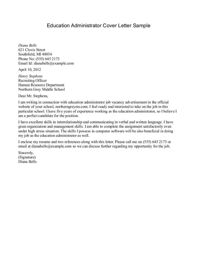 Sample Cover Letter Good one for education jobs  Job