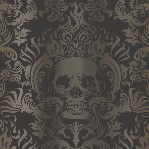 Silver Gold And Black Skull Damask Wallpaper