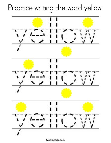 Practice writing the word yellow Coloring Page - Twisty Noodle ...