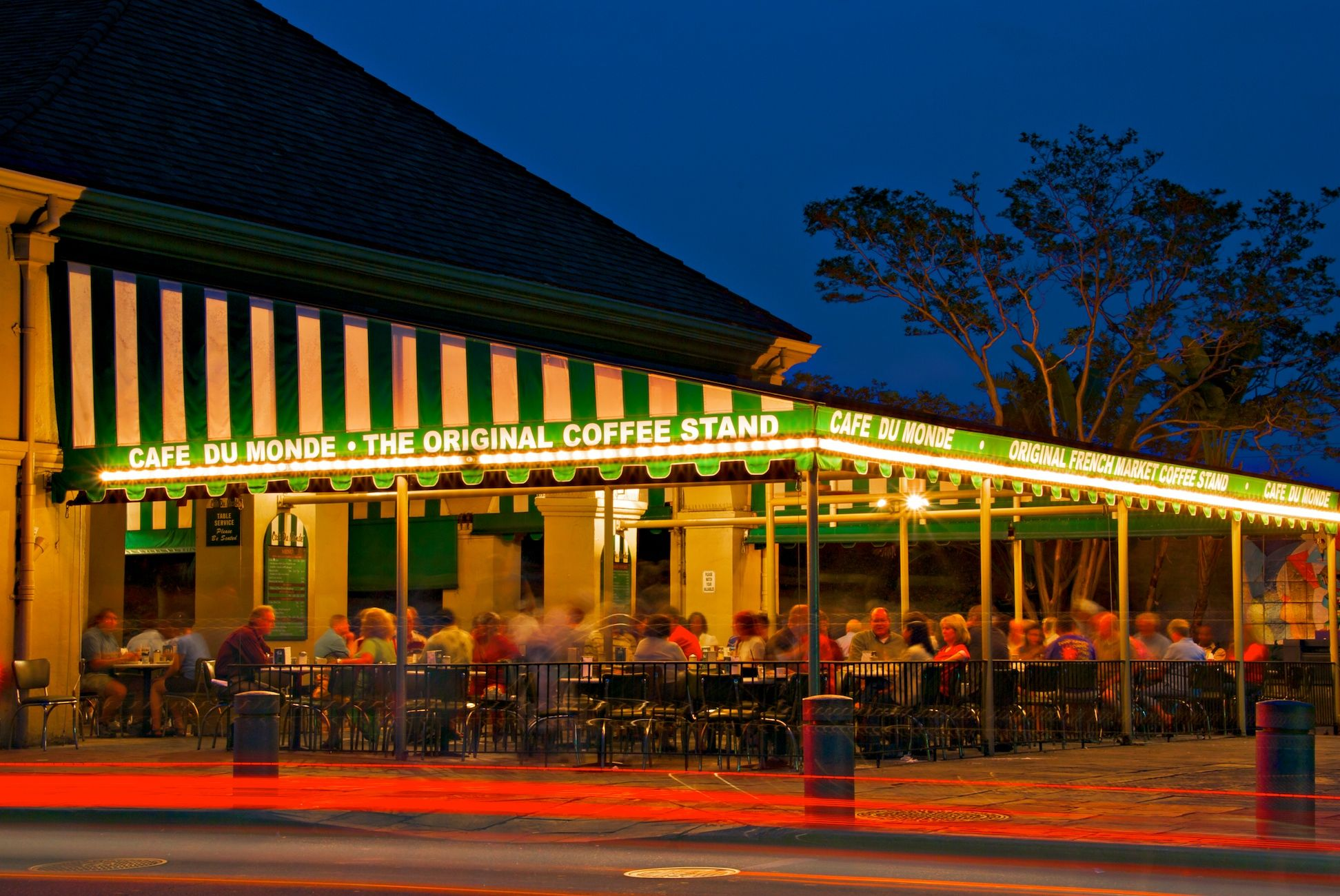 Cafe de Monde, New Orleans.  Johnny and I would sit at Cafe du Monde til the wee hours of the morning when we were dating...seemed like we never ran out of things to talk about!