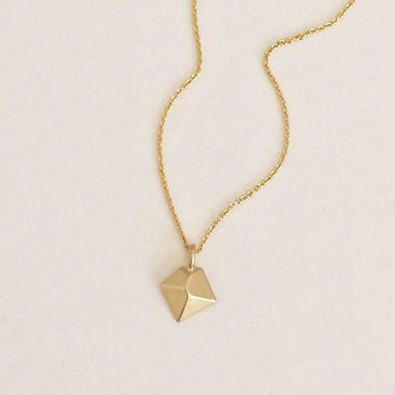 FLASH SALE Gold Necklace Rhombus Pyramid Pentagon Geometric Simple Small