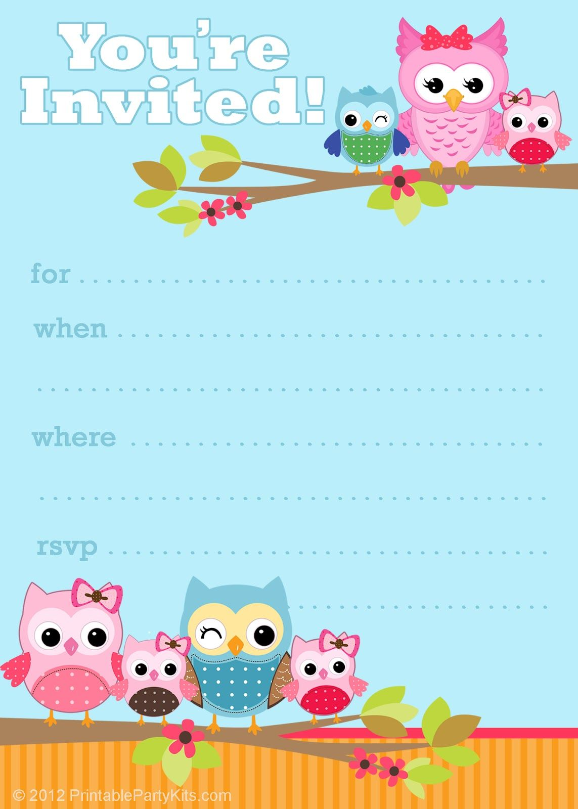 Free printable owl invitations from PrintablePartyInvitations – Free Printable Party Invitations for Kids Birthday Parties