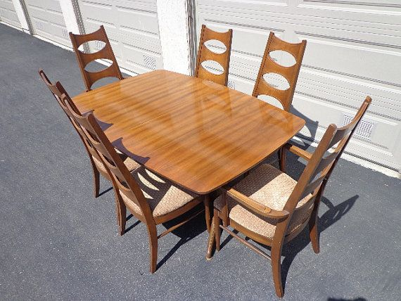 On Hold Mid Century Modern Kent Coffey Perspecta Dining Table Chairs MCM Set Danish Eames Chair Armchair Vintage Mad Men Retro
