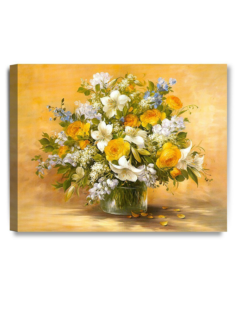 Amazon.com: DecorArts- Yellow roses and lilies, Giclee Print on 100 ...
