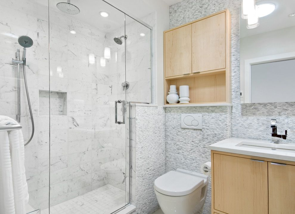 Good Looking Stacked Stone Tile Look Ottawa Contemporary Bathroom