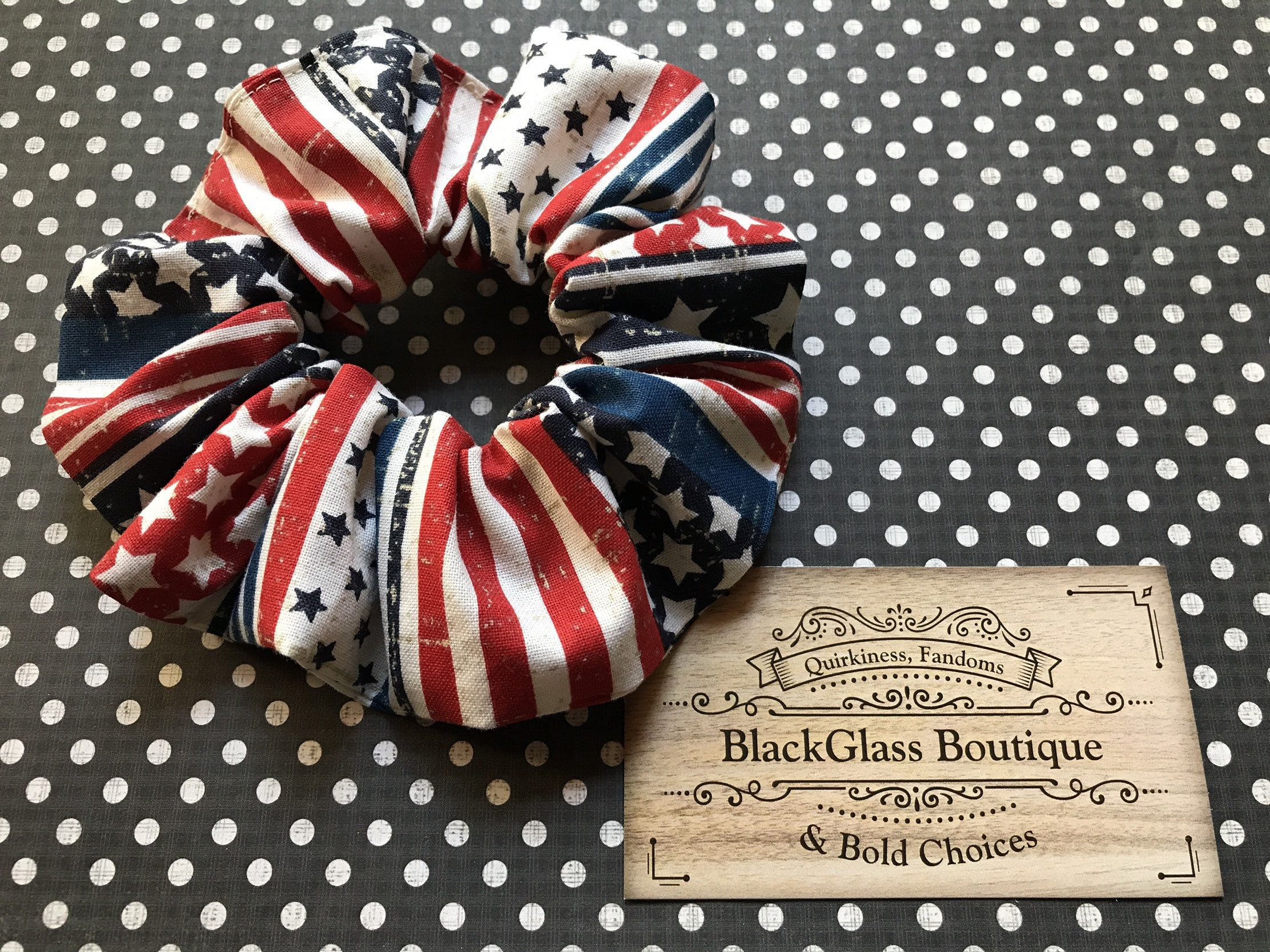 Stars and Stripes fabric scrunchie Cotton hair accessory