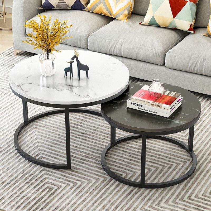 2 In 1 Living Room Coffee Tables Wooden Combination Furniture Round Two In 2020 Marble Coffee Table Living Room Living Room Coffee Table Round Coffee Table Living Room