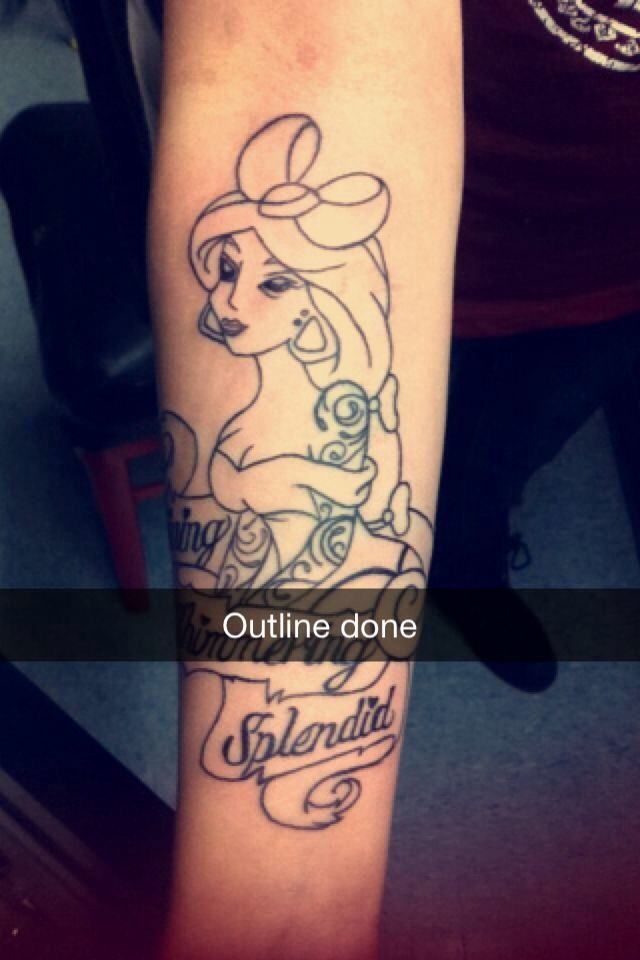 Aladdin tattoo. Princess jasmine outline. Done by amber at 5150 ...