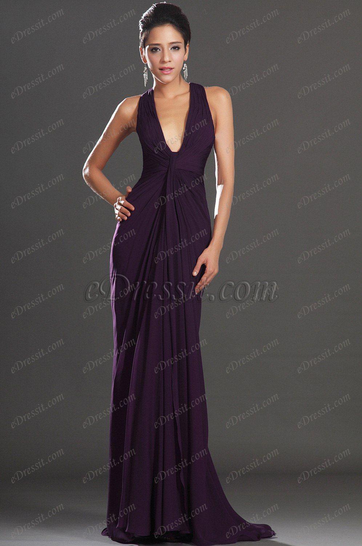 Usd edressit new adorable halter dark purple evening dress