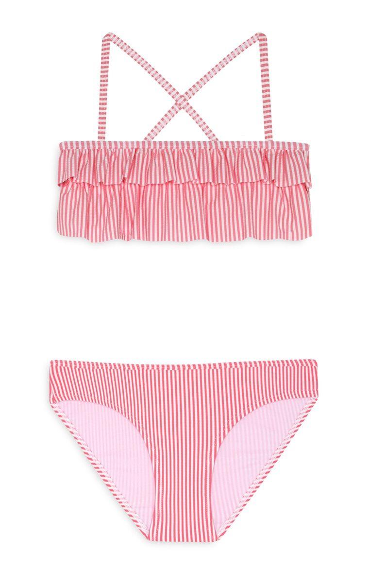 bastante agradable bdb0f 3f6e0 Bikini rosa a rayas con volantes de niña | Lindos Bikinis en ...