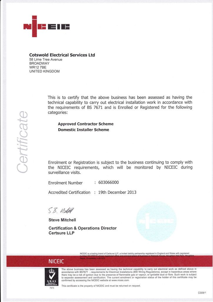 Certificates Health And Safety Certificate Electrical Installation