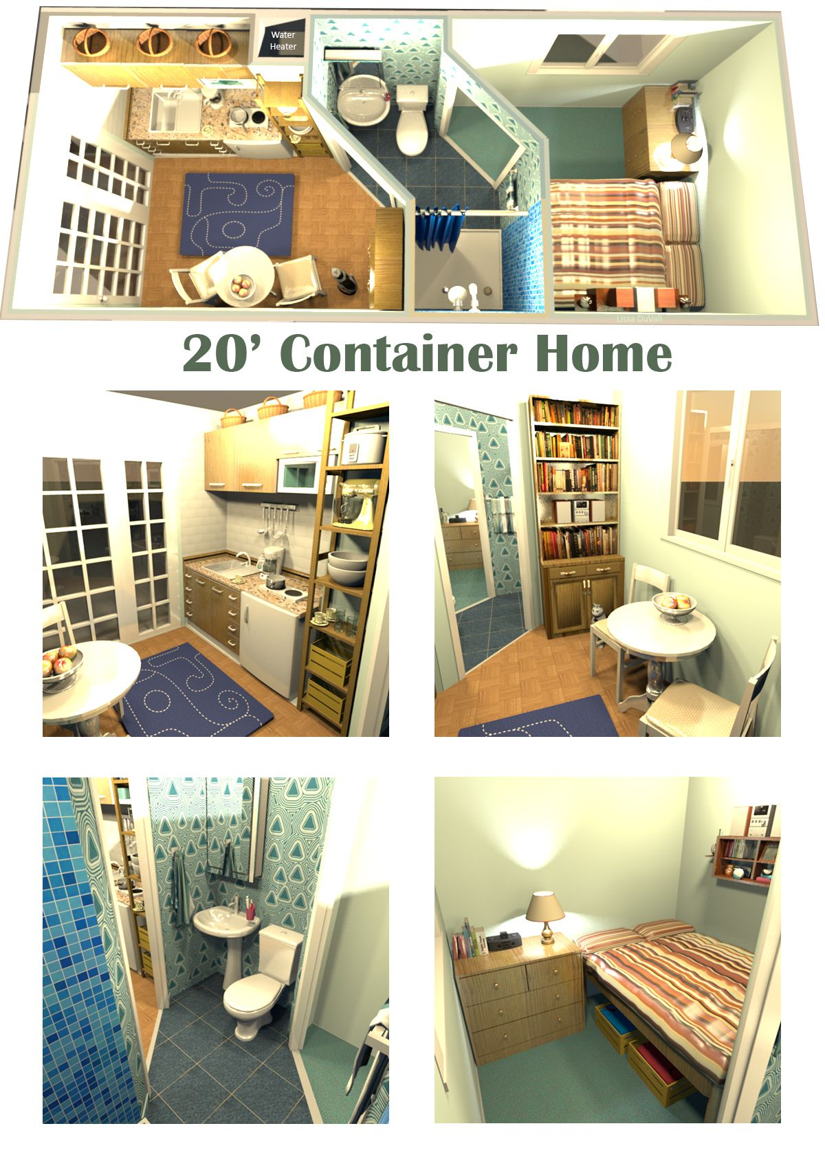 20 X8 Container Home Full Size Bed A Very Space Efficient Floor Plan For A Container Home Contain Container House Tiny House Loft Building A Container Home