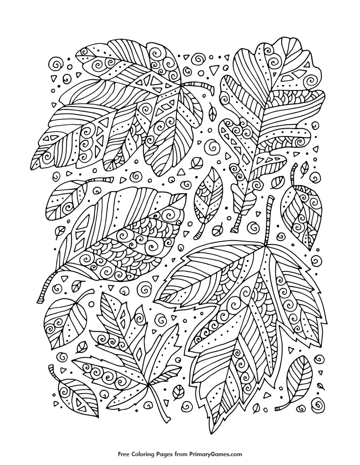 Fall Coloring Pages Ebook Zentangle Leaves Doodles Fall