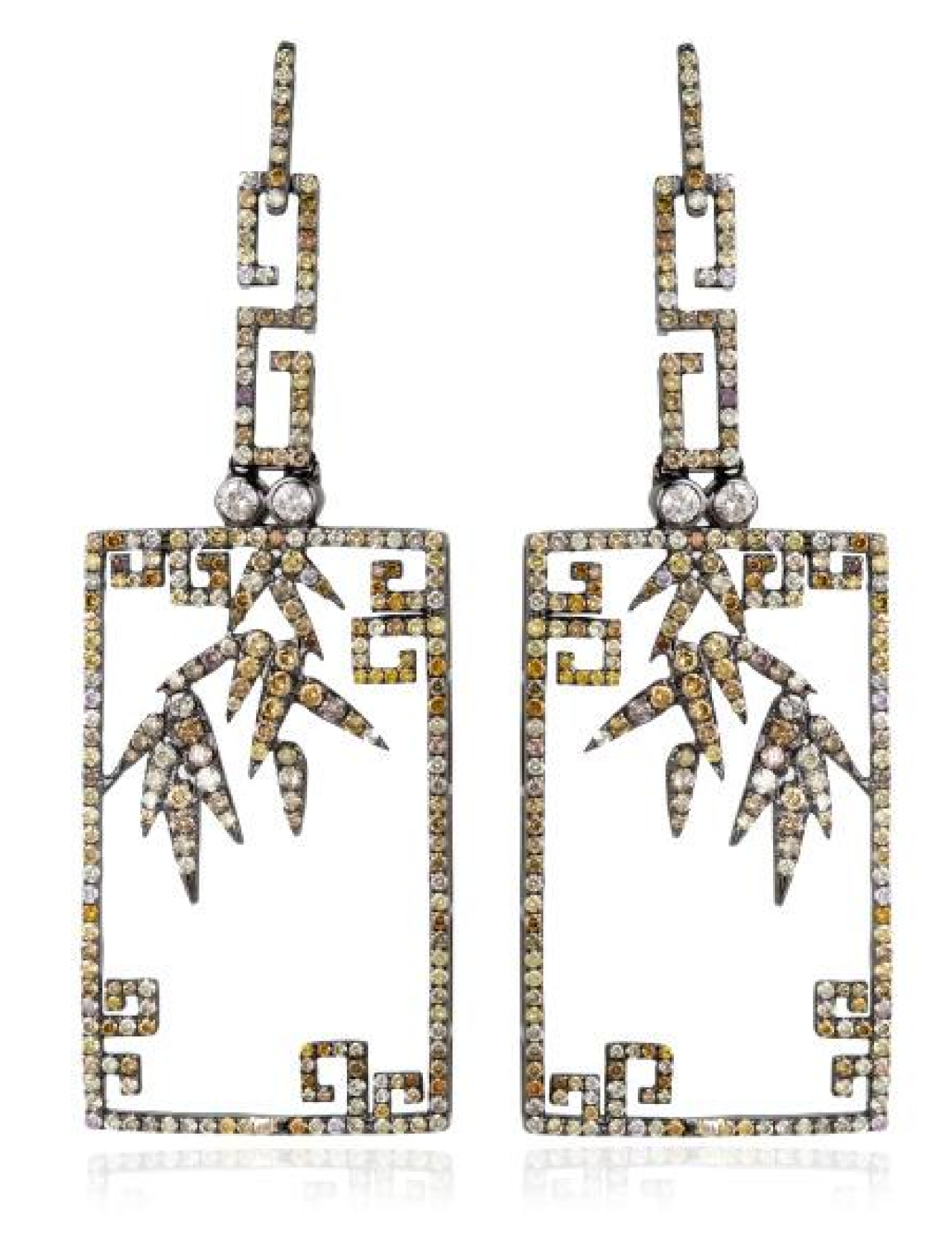 Gold and diamond 'Bird Cage' earrings by Bochic.   Chinese ...