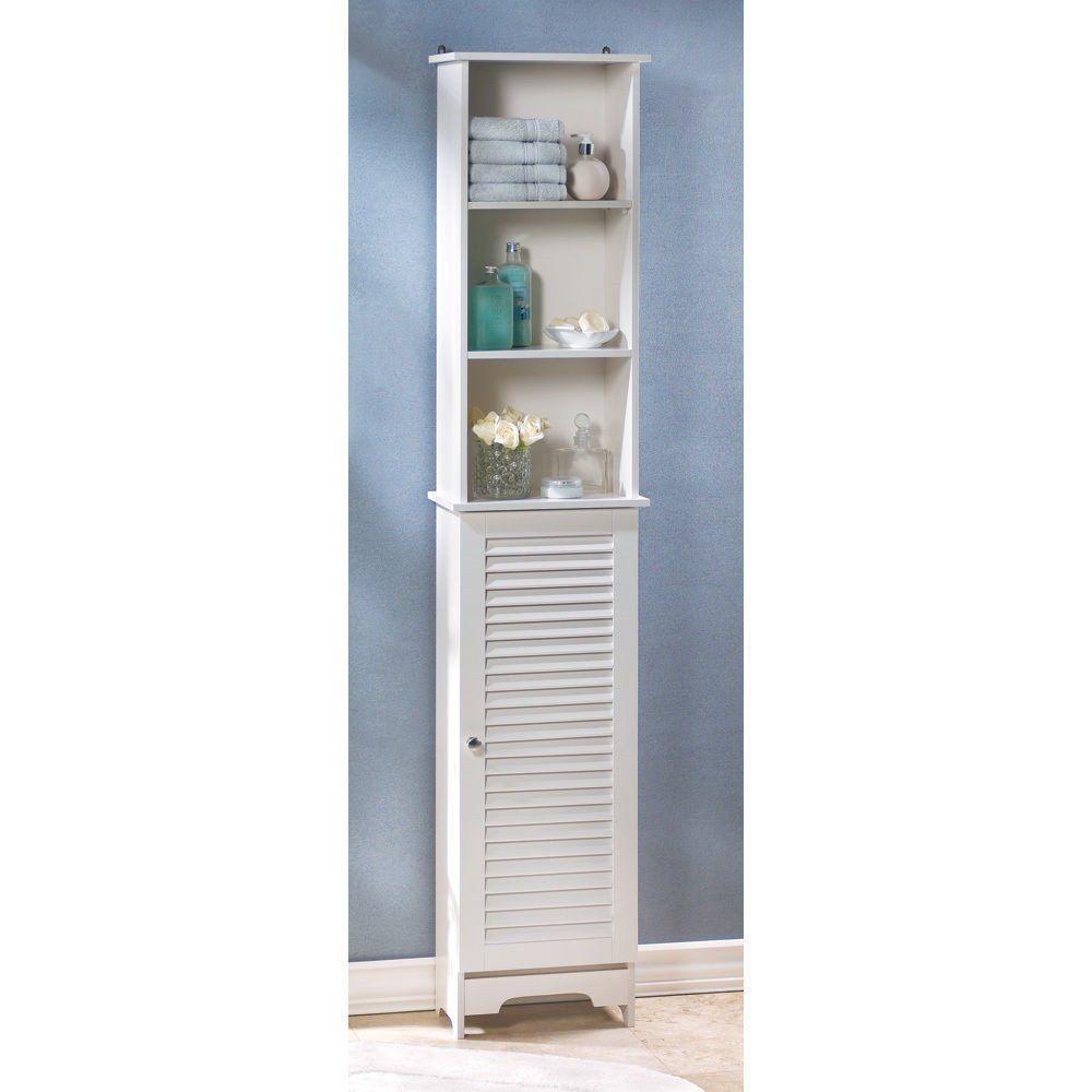 Tall Thin Narrow White Bathroom Room Shelf Organizer Storage Cabinet ...